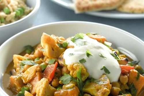 Vegetable and chickpea korma with spicy rice