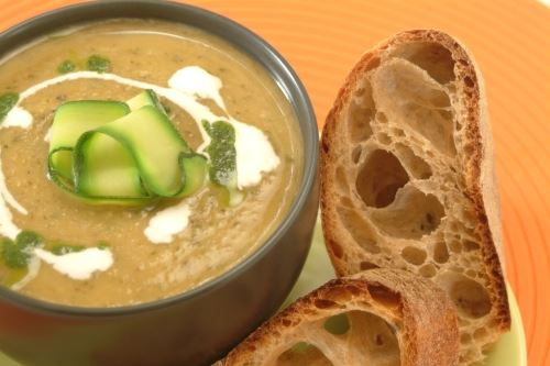 Roast courgette and basil soup